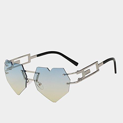 de sol Gafas de w mujer corazón femenina morado Silver del oro alta gafas elegantes de matices yellow blue W de calidad de reborde TIANLIANG04 gafas la moda UV400 amarillo twTqPOP
