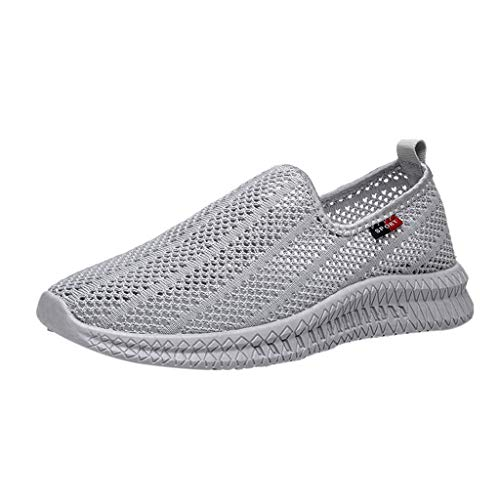 Bralonees Men's Breathable Woven Mesh Hollow Sneakers Slip-On Casual Shoes Lightweight Running Fitness Non-Slip Sports Grey -