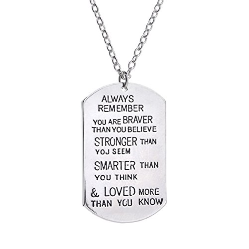 CF Inspiration Always Remember Personalized Dog Tag Military Necklace Custom Message Engrave Pendant Cross Birthday Gift for Men,Women,Son,Daughter,Family,Friend,Girlfriend,Boyfriend
