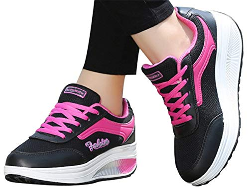 Thick Bottom Sports Shoes Women Wedge Platform Sneakers Shoes Soft Rocking Shoes Sneakers by Gyouanime Black