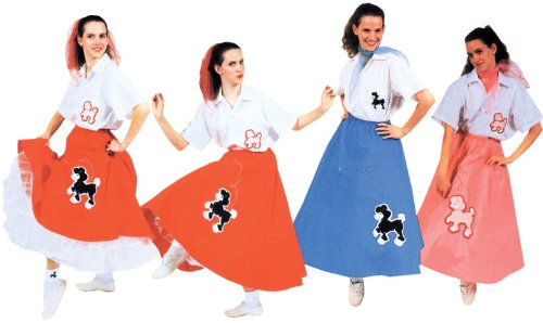 Poodle Skirt Turquoise Adult Costume (One Size) - Turquoise Poodle Skirt
