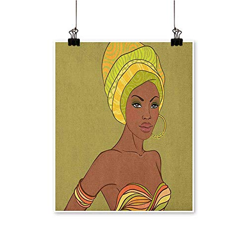 - African Woman,Contemporary Art Beautiful Native Fashion Lady Portrait Sexy Dress Earring Turban Make Up W20 xL24 Wall Art Decor Poster Painting