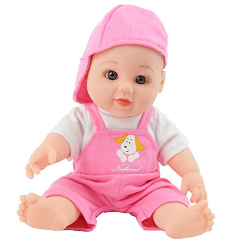 Tusalmo toys doll 12inch kids toy, vinyl body baby dolls for girls, from Professional toys doll manufacturers (pink) (Dolls Plastic Vinyl)