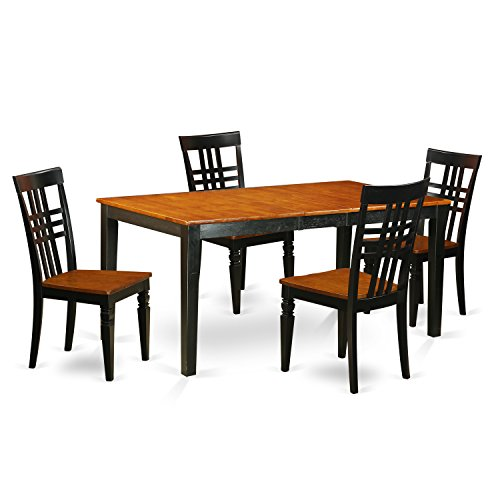 East West Furniture NILG5-BCH-W 5 Piece Kitchen Table Set with One Nicoli Table and Four Dining Chairs in Black & Cherry Finish
