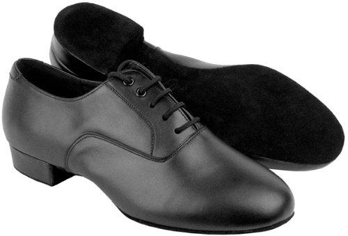 """Sehr feine Männer Salsa Ballroom Tango Latin Dance Schuhe C919101W breite Breite mit Schuh Drahtbürste Ferse 1 """" Schwarzes Leder"""