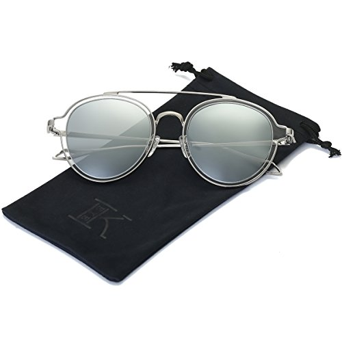 LKEYE-Unisex Polarized Sunglasses Metal Frame UV Protection Mirrored Lens LK1706 Silver Frame Silver - Sunglasses Beautiful Most