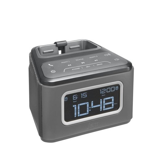JAM ZZZ Wireless Alarm Clock, Play Music, Alarm Clock, Built-in Speakerphone, Snooze Buttons, 30ft Range, Charges Devices with USB Port, Gradual Wake, HXB510GY (Bluetooth Jam Zzz)