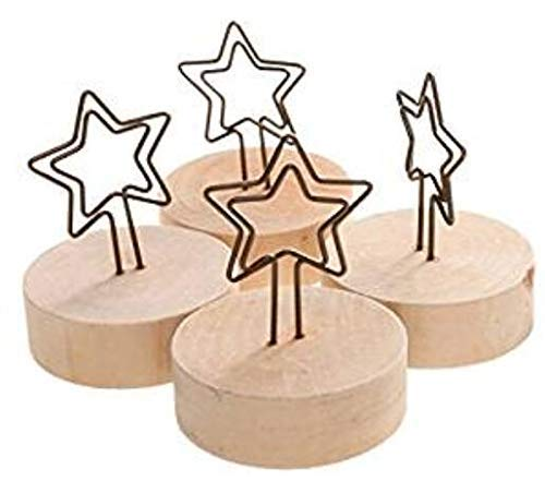 Premium Quality 10pcs Desk Memo Table Number Clip Holders Stand Wood Base Wedding Card Holders for Picture Paper Note Menu Price Tag Star Stationery Office Supplies