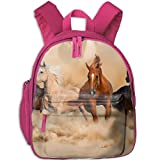 A Group Of Horses Running Travel School Backpack Teens Kids