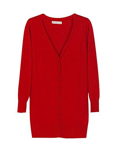 Cou Loisir Longue en Cardigan Section Longue Chale Femme Manteau Maille Rouge V Manche gwnq5aExA