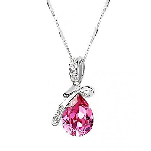 crunchy fashion Pink Water Droplet Pendant Necklace for Women.