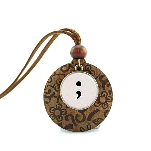 Handmade Wooden Base Necklace Round Pendant Decoration Vinta