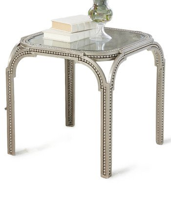 Global Views Luxe Beaded Edge Silver Metal Arch Side End Table | Accent Iron Williamsburg