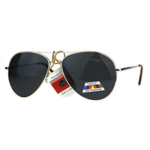 Polarized Antiglare Classic Metal Rim Officer Pilots Sunglasses Gold - Officer Sunglasses