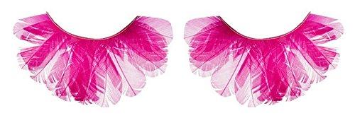 Zinkcolor Hot Pink Feather False Eyelashes F132 Dance Halloween Costume -