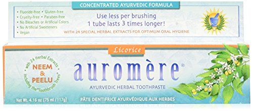 Auromere Herbal Toothpaste, Original Licorice, 4.16-Ounces (Pack of 4)