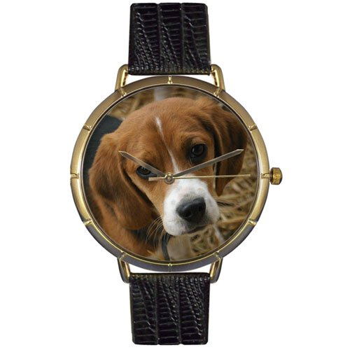 Beagle Whimsical Watches Women's N0130007  Black Leather And Goldtone Photo Watch