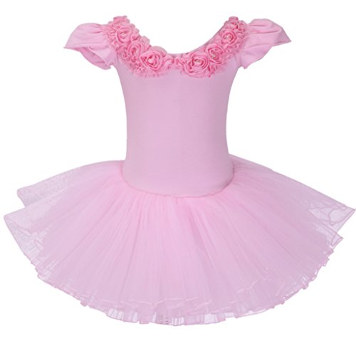 Meeyou Little Girls' Rhinestone Ornament Ballet Tutu Dress (5, Pink Stytle 2) (Ornament Girl 2)
