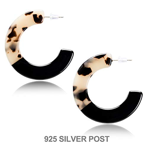 Enameljewelries Wave Tortoise Shell Hoop Earrings Lightweight Acrylic Resin Hoop Earrings with Hypoallergenic 925 Silver Post for Women
