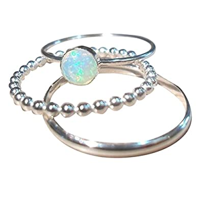 MALLOOM 3PC Exquisite Women's Silver Ring Band Circular Cut Opal Diamond Finger Rings Size 5-12