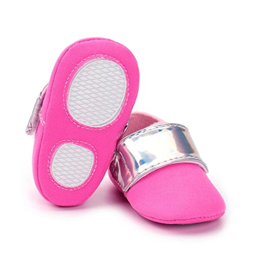 Hunpta Neugeborenen Mädchen Jungen Kinderbett weiche Sohle Anti-Rutsch-Baby Sneakers Prewalker Schuhe Hot Pink
