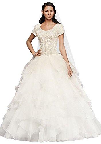 David's Bridal Oleg Cassini Short Sleeve Modest Ball Gown Style SLCWG568, Ivory, (Oleg Cassini Bridal Dresses)