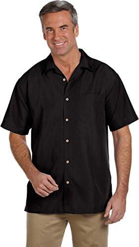 Harriton, camisa de campamento, textura barbados, para hombre
