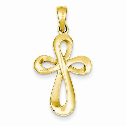 Gold Solid Polished Figure - Solid 14k Yellow Gold Polished & Satin Figure 8 Cross Crucifix Pendant (35mm x 18mm)