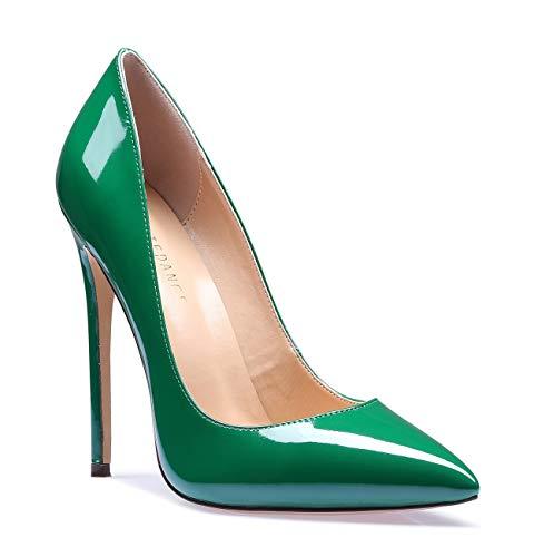 SUNETEDANCE Women's Slip-on Pumps High Heels Pointy Toe Sexy Elegant Stiletto Heels 12CM Heel Shoes Patent Green Pump 6 M US
