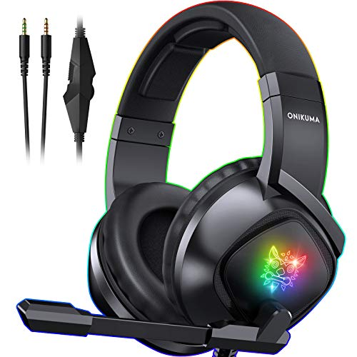 ONIKUMA K19 Gaming Headset -Xbox One Headset PS5 Headset with 7.1 Surround Sound Pro Noise Canceling Gaming Headphones with Mic & RGB LED Light Compatible with PS4, Xbox One,PC(Adapters Not Included)