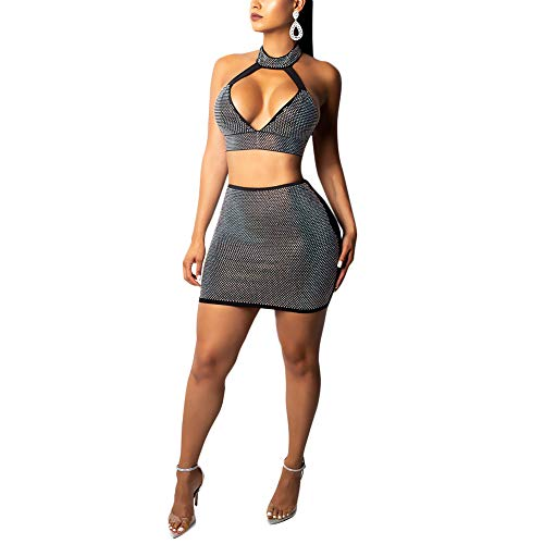 Ophestin Women 2 Piece Outfits Sexy Halter Crop Top Skirt Set Rhinestone Mini Dress for Club Black Size ()