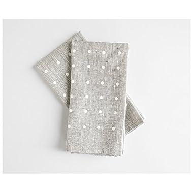 White dots napkins- Set of 2 - Linen Napkins