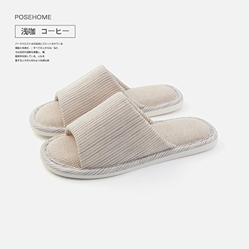 Couples Stay Soft and The Anti Male Coffee 43 fankou Linen Cotton Seasons 42 Indoor Ground Female Slip All Slippers Light Flax Slippers Summer Home v7HnqwHzd