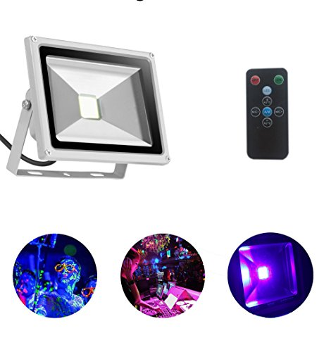 Solution Pigment Control (UV Led Blacklight 20W Ultraviolet UV Flood Lights with Remote Auto Lighting Vioce Control Waterproof for Neon Glow Blacklight Parties Stage Light Fishing, Aquarium, Curing)
