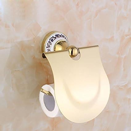 Sursy Acero inoxidable de toallas de papel toalla de papel dorado europeo Caja de Papel Higiénico