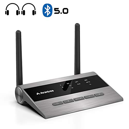 [ 2020 ] Avantree Long Range Bluetooth 5.0 Transmitter Receiver for TV & PC Audio, Home Stereo Speakers, aptX Low Latency Wireless Adapter for 2 Headphones, Digital Optical 3.5mm AUX RCA - TC419