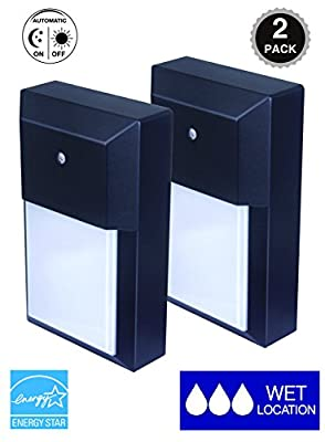 CORAMDEO, 2-Pack LED Wall Lantern, Wall Sconce 9.5W Replace 75W Traditional Lighting Fixtures, 800 Lumen, Water-proof, ETL and Energy Star Certified