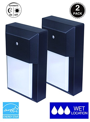 (CORAMDEO Outdoor LED Wall Lantern, Wall Sconce 12W Replace 100W Traditional Lighting Fixtures, 1000 Lumen, Water-Proof, Aluminum Housing Plus PC, ETL and Energy Star Certified, 2-Pack)