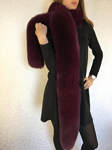 Blue Fox Fur Boa 78' Saga Furs Dark Purple Fur Collar