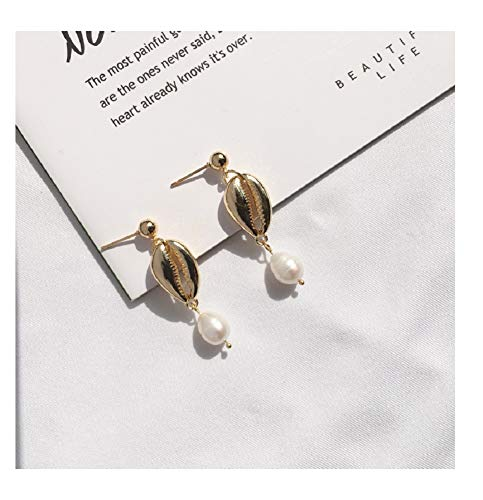 (Tiande Coin Cultured Freshwater Pearl Cultured Pearls Drop Dangle Earrings for Women Girls, 14K Gold Plated -Shell Drop )
