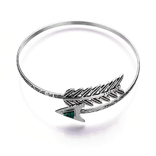 RUIZHEN Vintage Feather Open Cuff Adjustable Armlet Armband Upper Bangle Bracelet Boho Bracelet (Silver) (Boho Upper Arm Cuff)