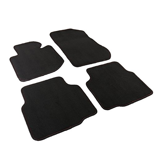 Red Rear Mat (BMW E36 3-Series Black w/Red Stitching Front+Rear Car Floor Mats Carpet 4PC)
