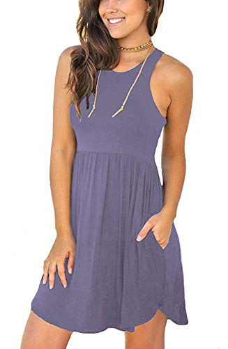 WNEEDU Women's Summer Casual Sleeveless Swing Dress Sundress with Pockets Purple Gray XS