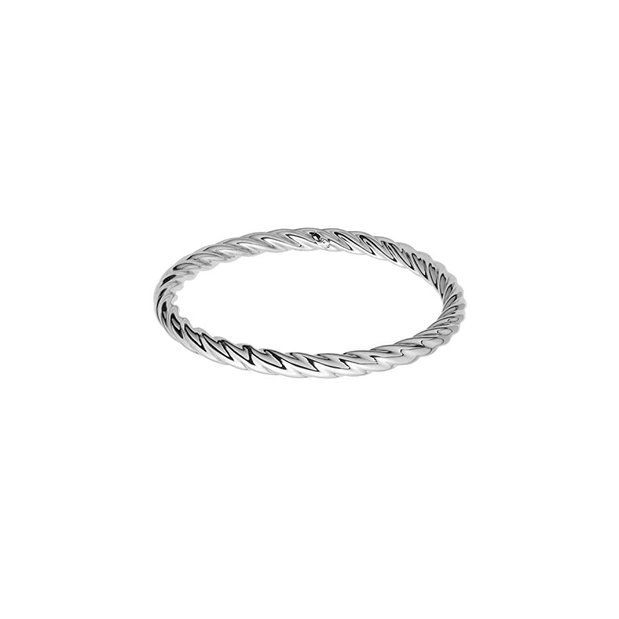 """Sterling Silver Rhodium Plated Twisted Bangle Bracelet, 2.5"""""""