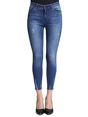 Lark Women's Low Rise Ankle Stretchy Skinny Jeans Destroyed Abrasions Raw Hem Denim Pants