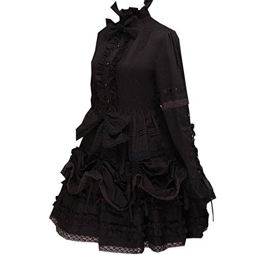 Schwarz Frauen Lolita Gothic gekraeuselten Kleid Partiss CxZqwXTX