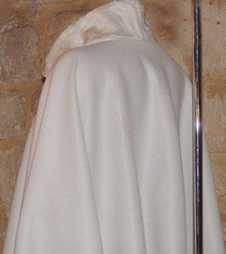 imitation Cape fourrure Pierre cedric Ecru polaire femme manteau poncho Col awrx6wqBXp