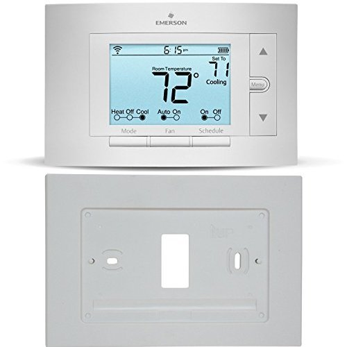 Sensi Smart Thermostat, Wi-Fi, UP500W with Emerson F61-2663 Wall Plate for Sensi (White), Works with Amazon Alexa