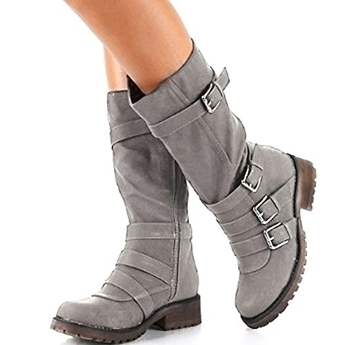 Rainlin Women's Mid-Calf Boots Suede Buckles Riding Boots Size 7.5 Grey by Rainlin (Image #4)
