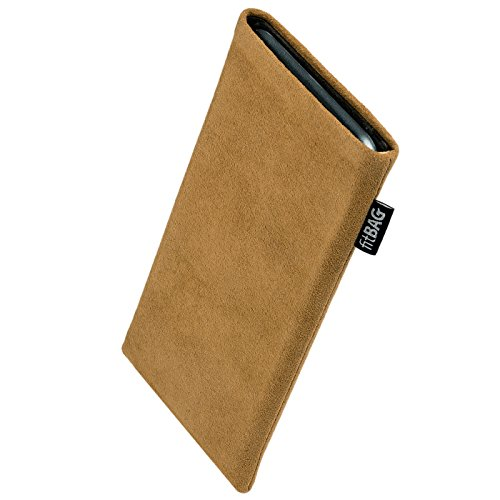 fitBAG Classic Sand Custom Tailored Sleeve for ZTE Racer II. Genuine Alcantara Pouch with Integrated Microfibre Lining for Display Cleaning ()